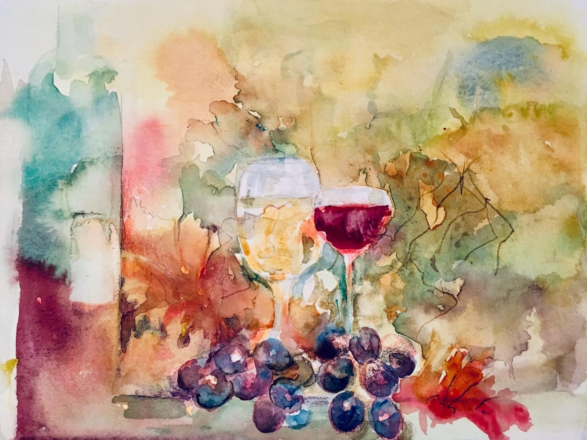 Wein und Herbstfarben (Aquarell)